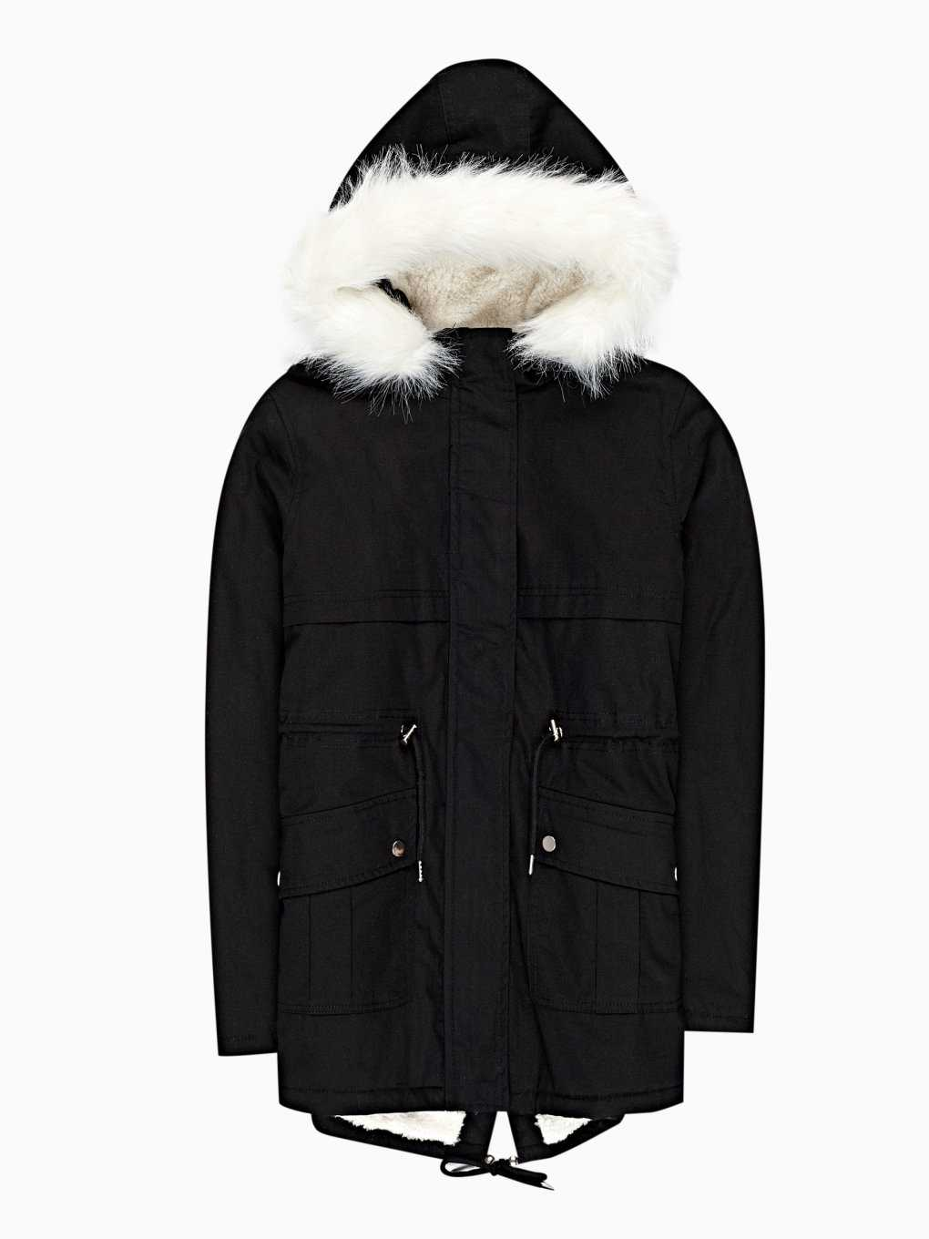 Pile lined padded cotton parka