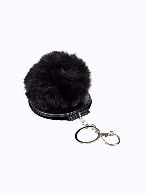 Key ring with mini mirror and pom pom