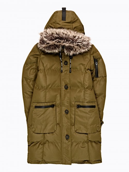 Longline padded nylon jacket with hood