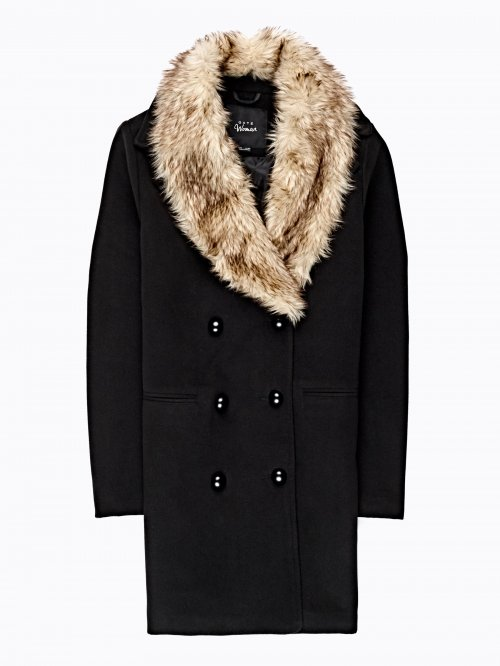 PEA COAT WITH FAUX FUR COLLAR
