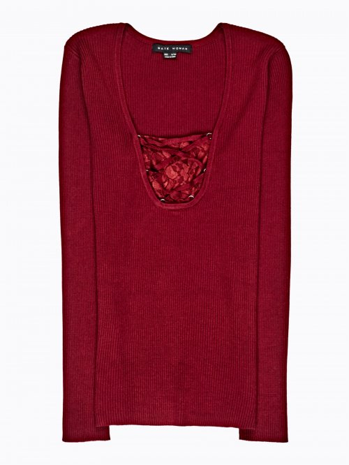 Rib-knit jumper with front lacing