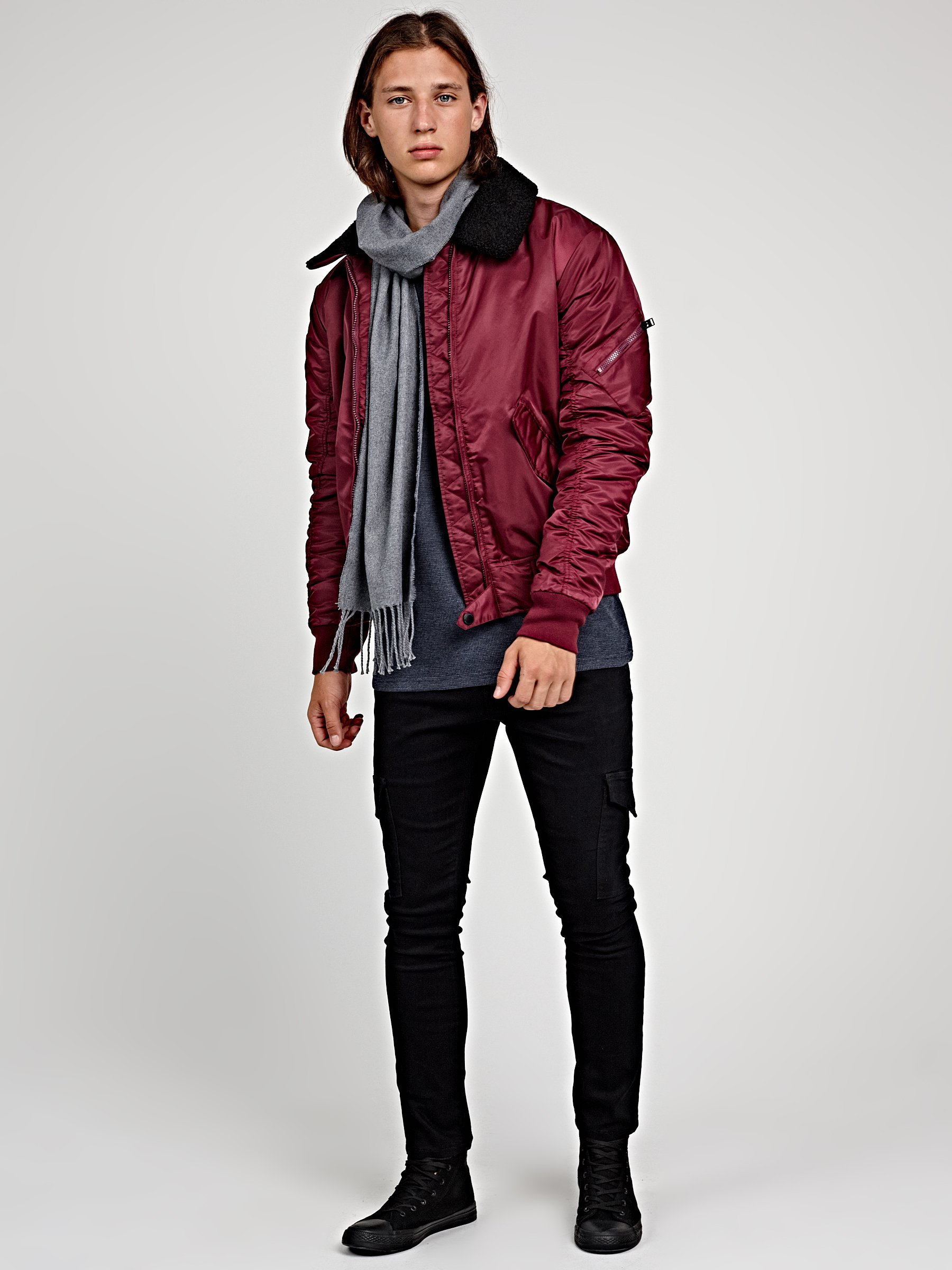 1f79897a1a8 Light padded bomber jacket with sherpa collar