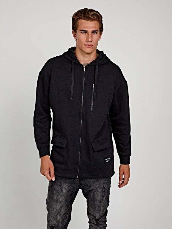 Longline zip-up hoodie with fish tail