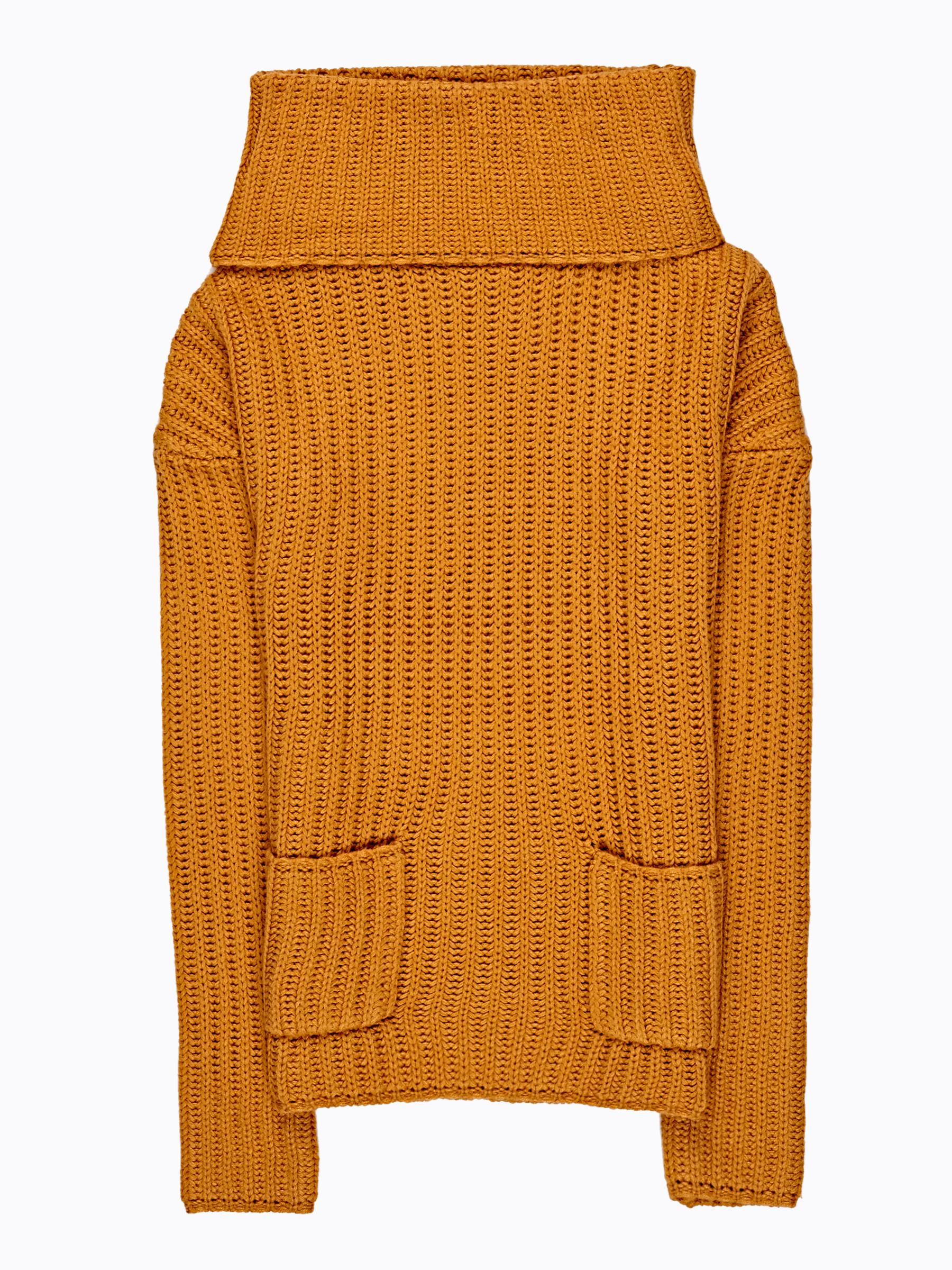 GATE Oversized sweter z golfem i kieszeniami
