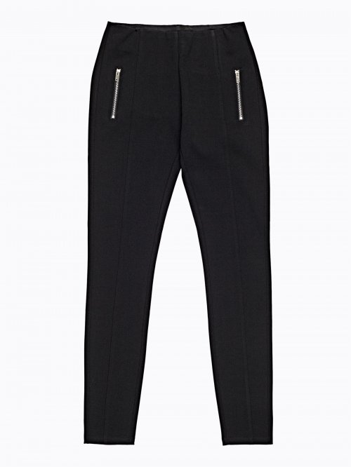 Knitted slim trousers with zippers