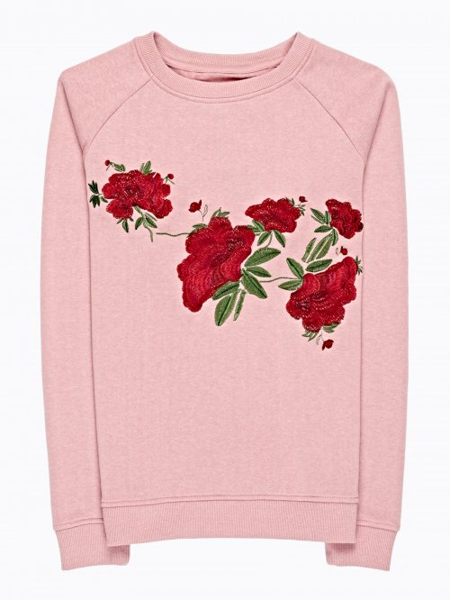 SWEATSHIR WITH FLORAL EMBROIDERY