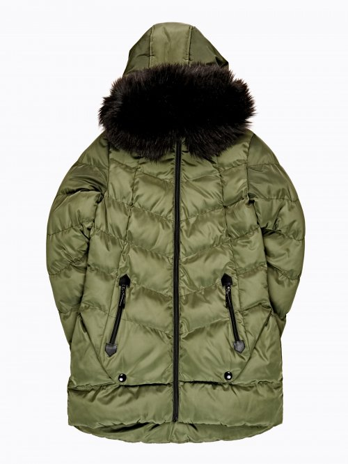 QULITED PADDED JACKET WITH REMOVABLE FAUX FUR