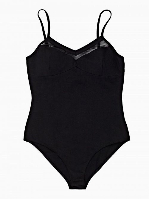 STRAPPY BODYSUIT WITH MESH DETAIL