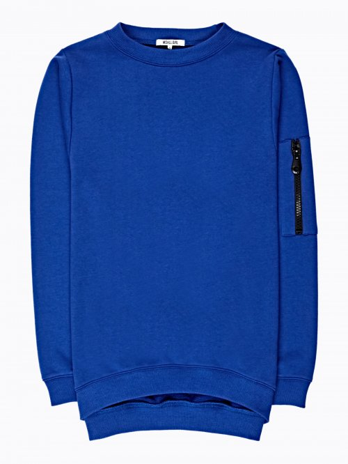 BOYFRIEND SWEATSHIRT WITH SLEEVE ZIPPER
