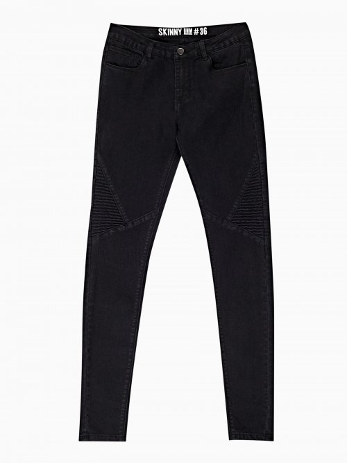 SKINNY BIKER JEANS IN BLACK WASH