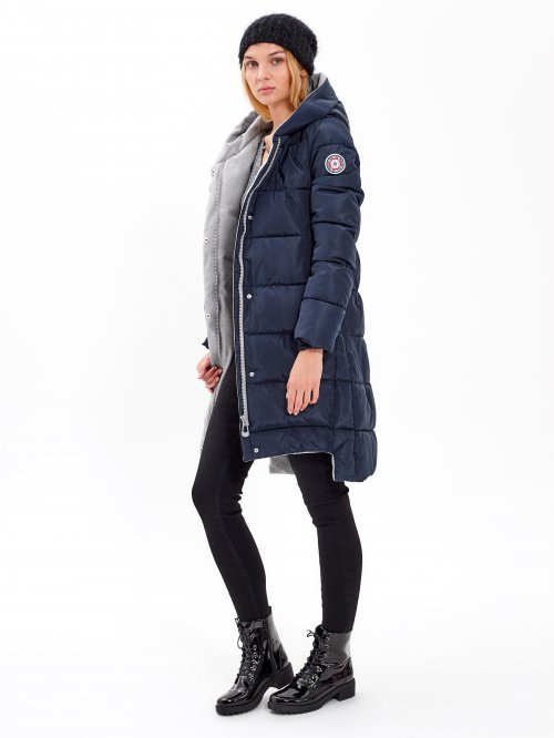 Longline padded jacket with hood