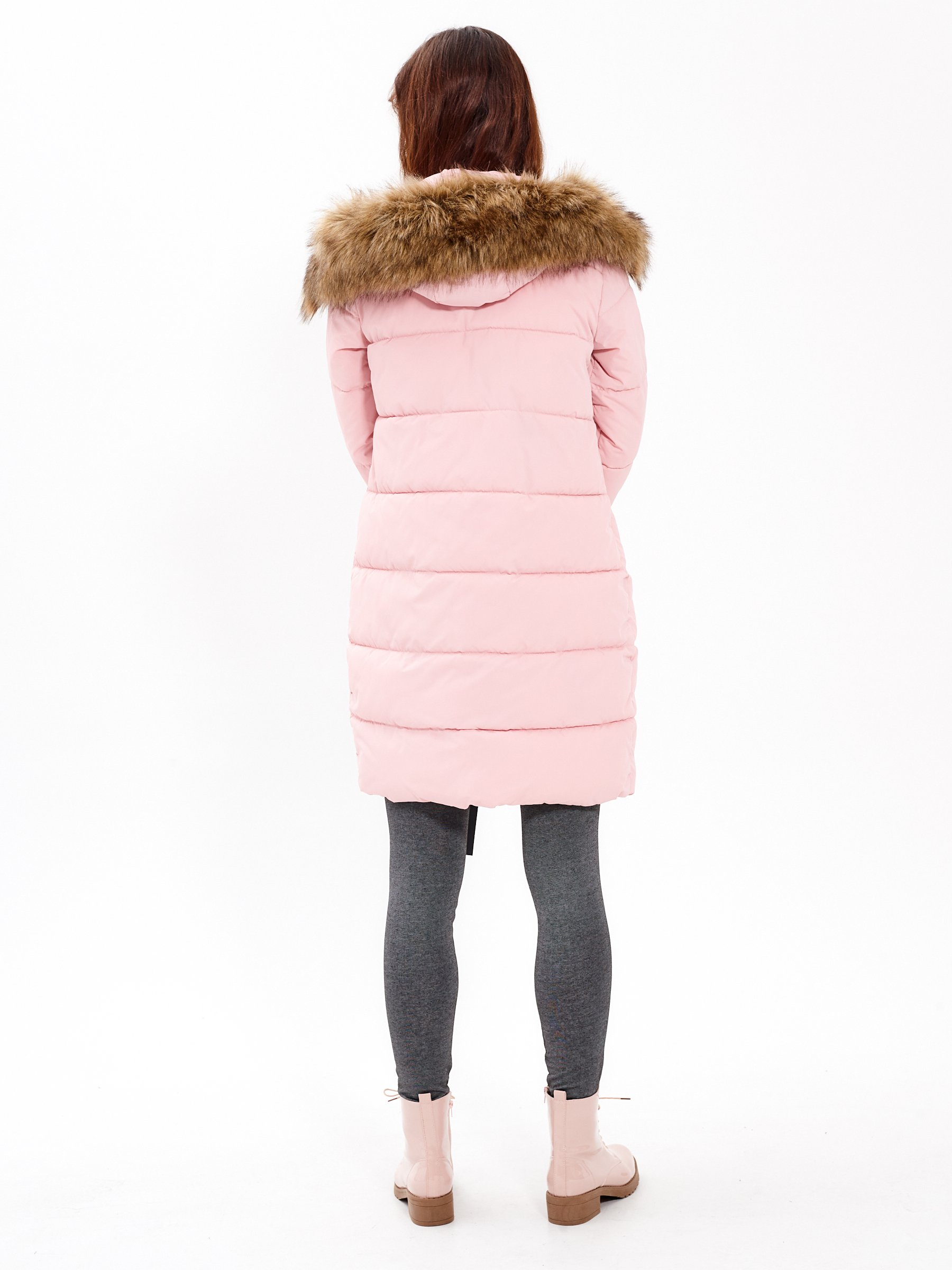 Longline padded jacket with contrast tapes