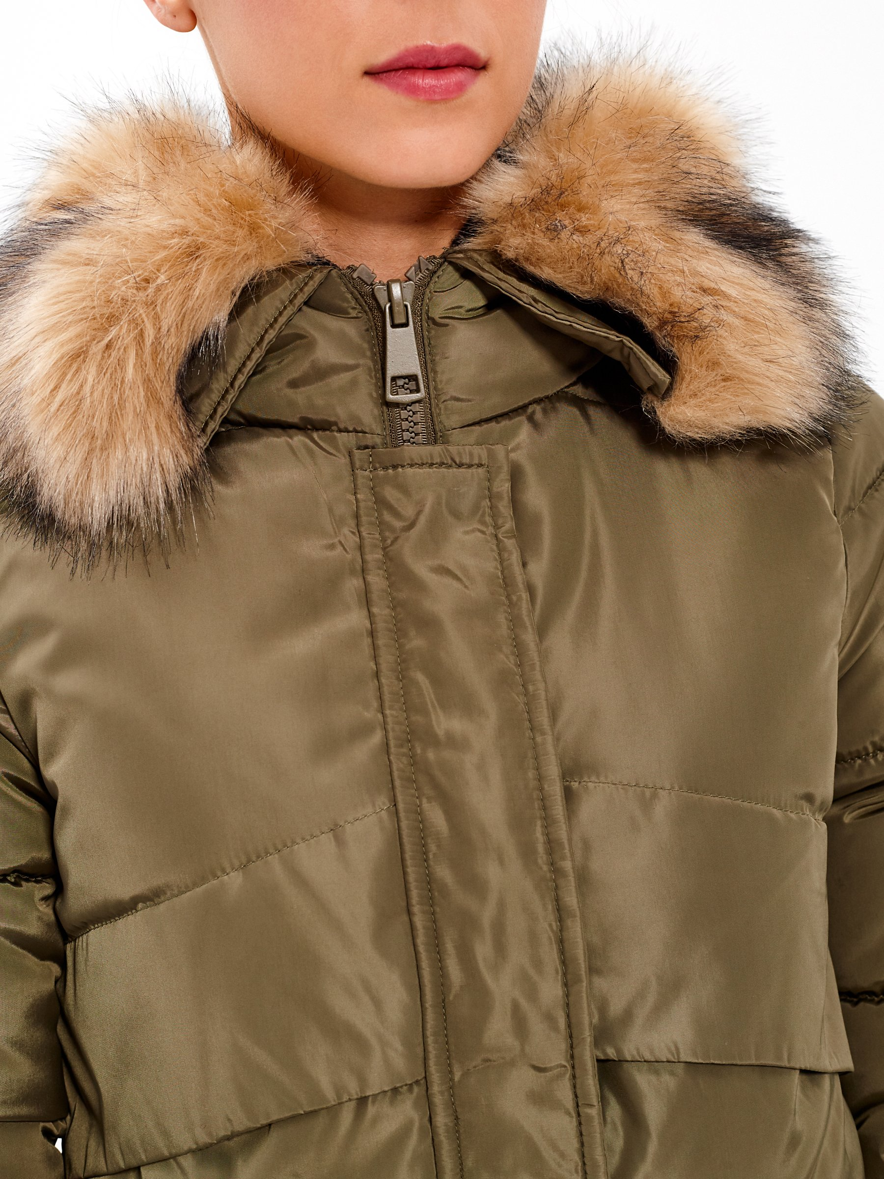 Longline padded jacket with eyelets on back