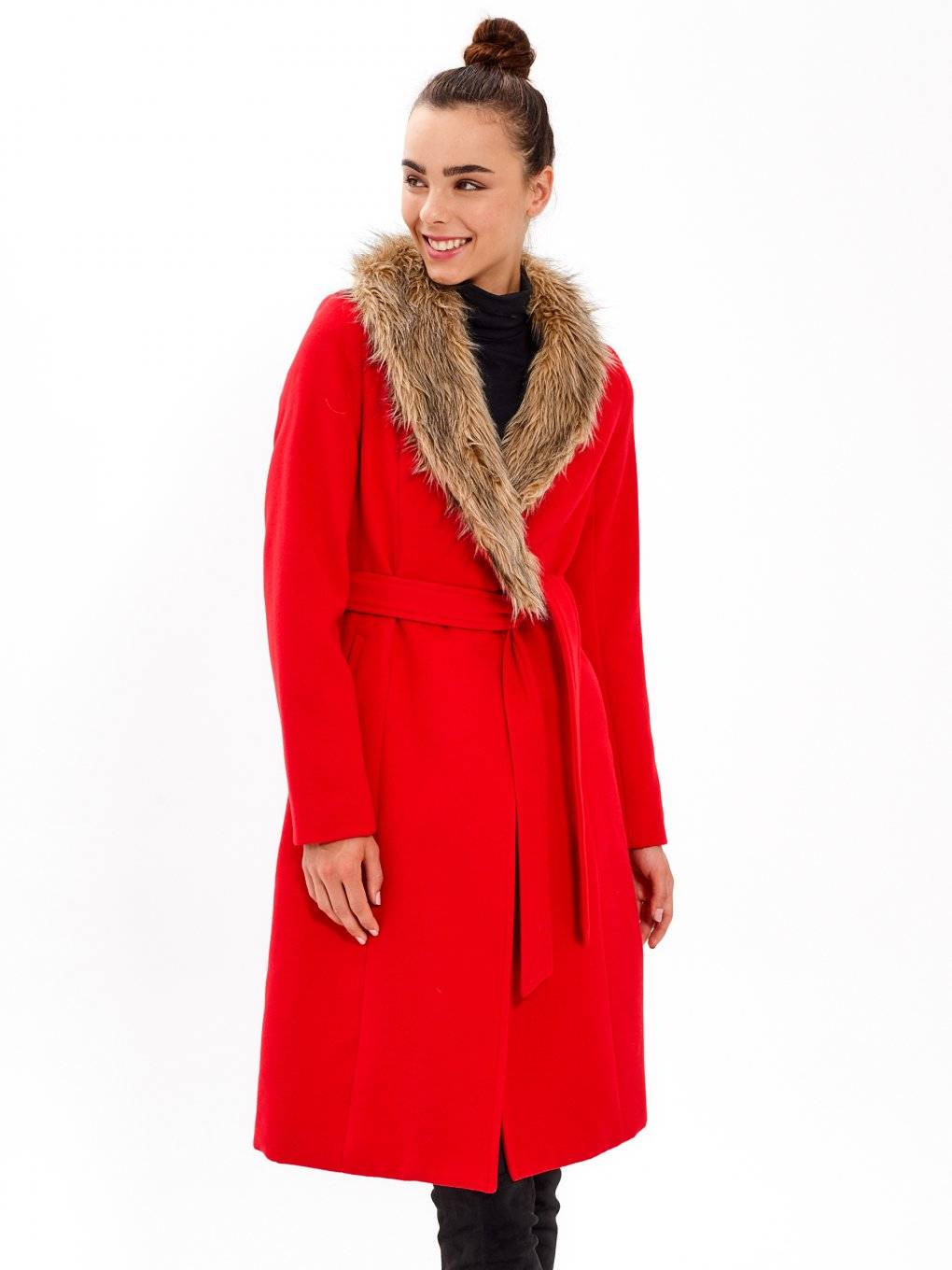 DUSTER COAT WITH REMOVABLE FAUX FUR COLLAR
