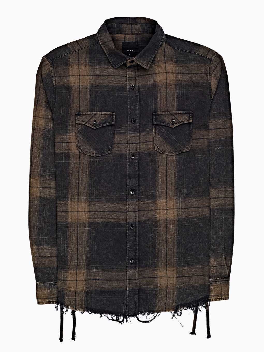 PLAID SHIRT WITH FRAYED HEM