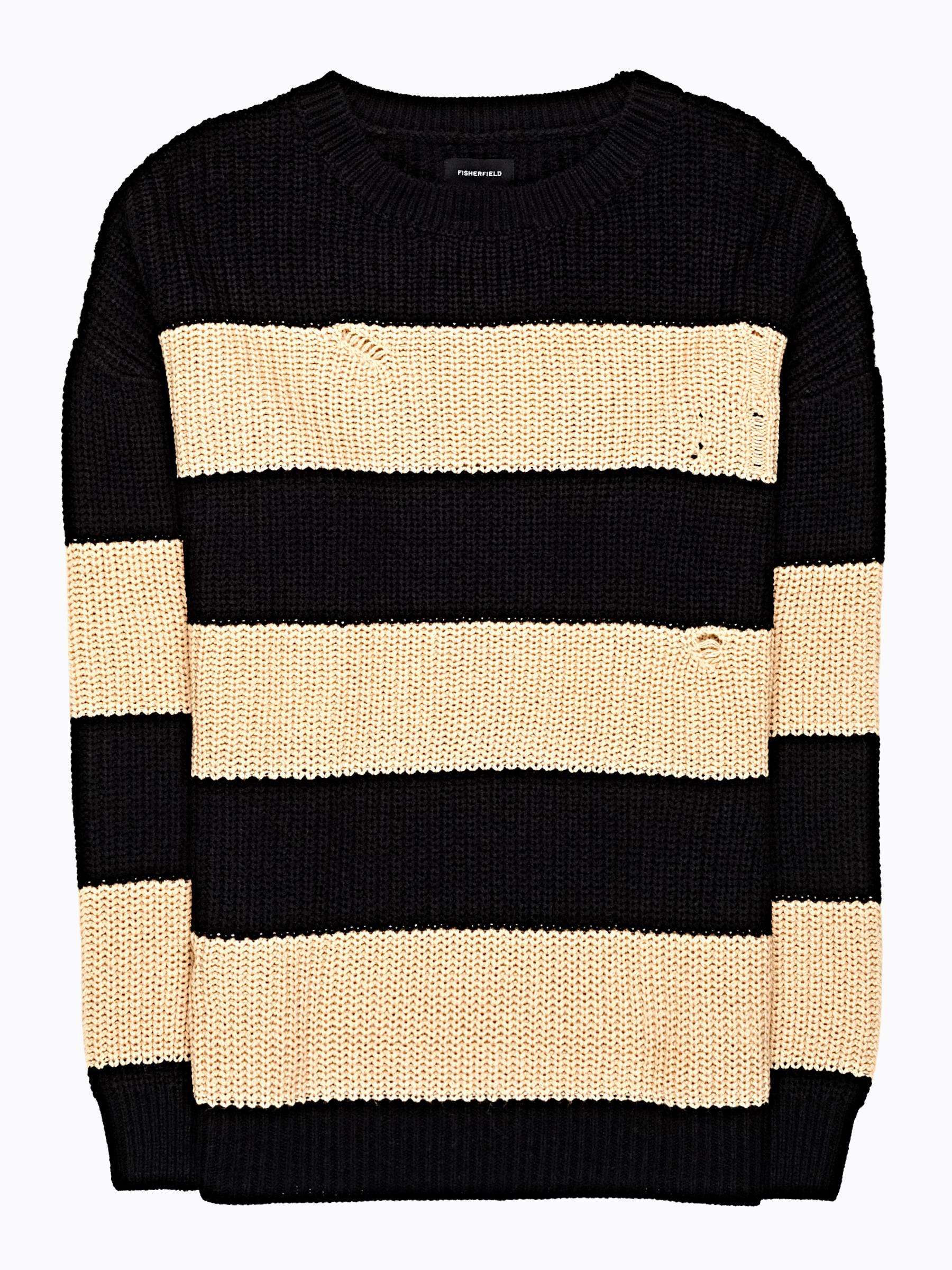 GATE Široký pruhovaný sveter s dierami