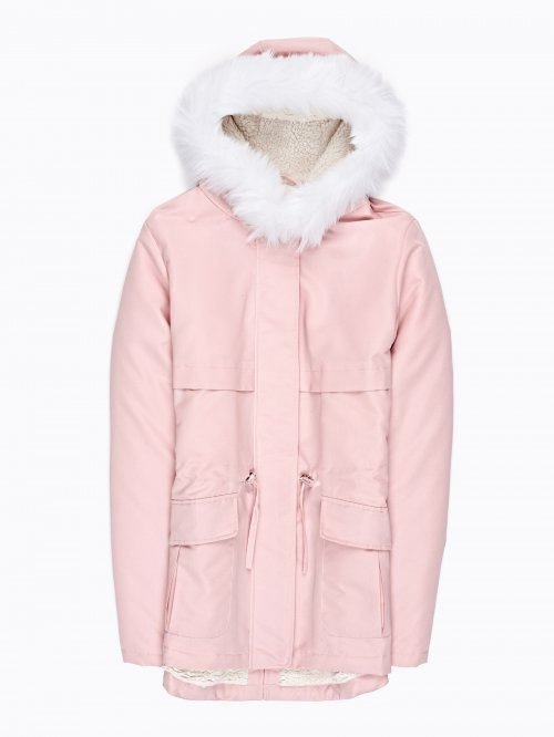 Pile lined parka with hood