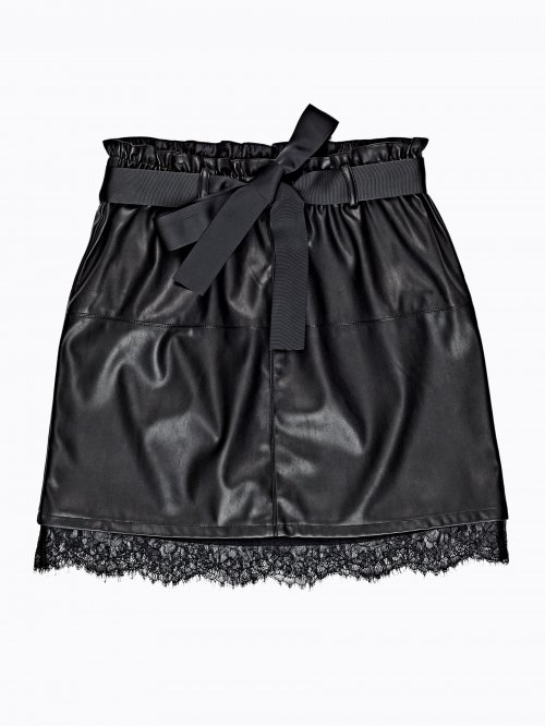 Faux leather skirt with lace