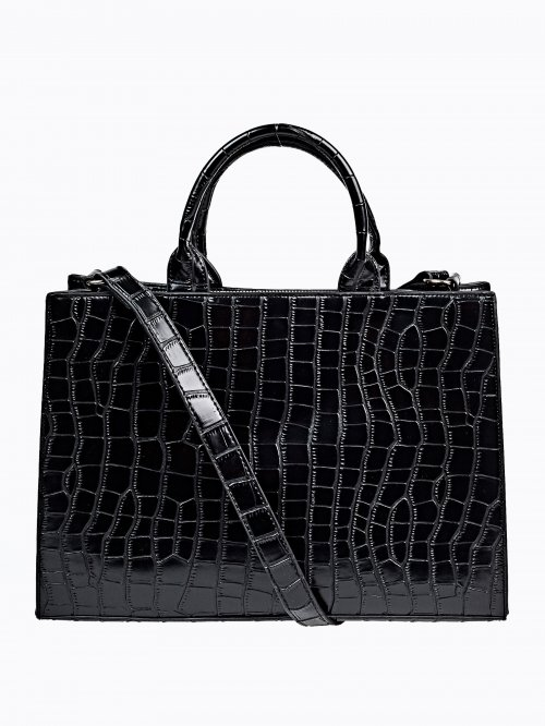 FAUX SNAKESKIN LEATHER HANDBAG