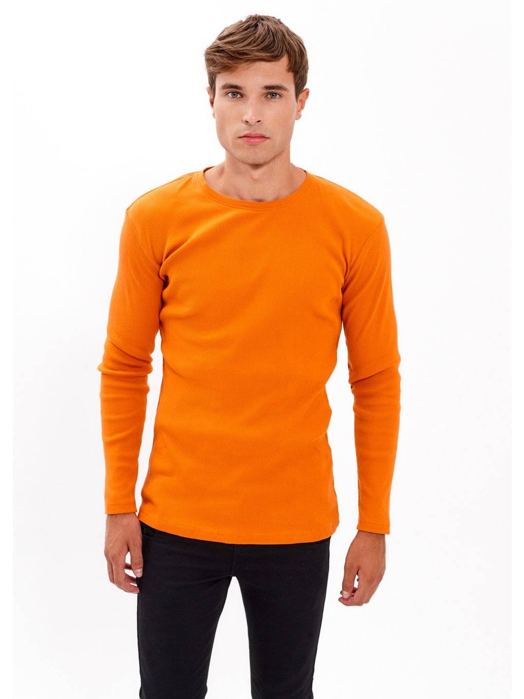 BASIC RIB-KINT T-SHIRT WITH LONG SLEEVE
