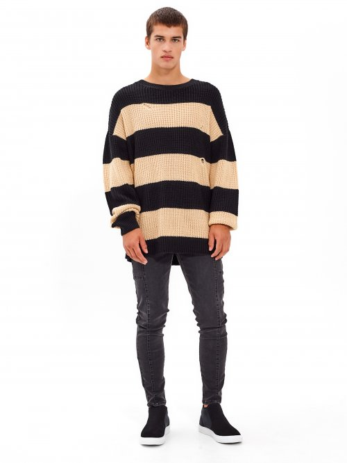 OVERSIZED STRIPED DISTRESSED JUMPER