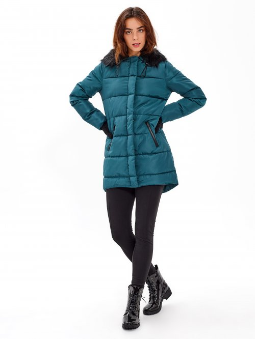 Quilted padded parka with hood