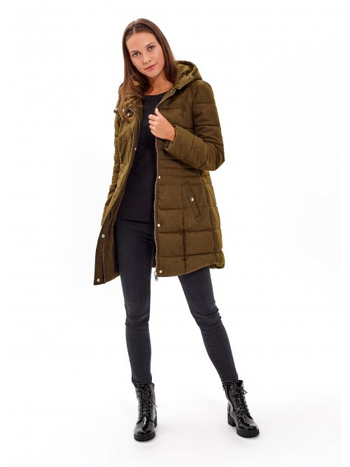 Longline padded quilted jacket with hood