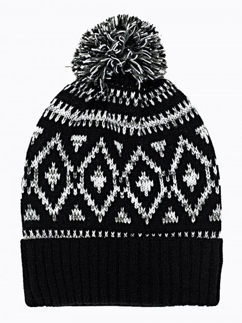 PATTERNED BEANIE WITH POM