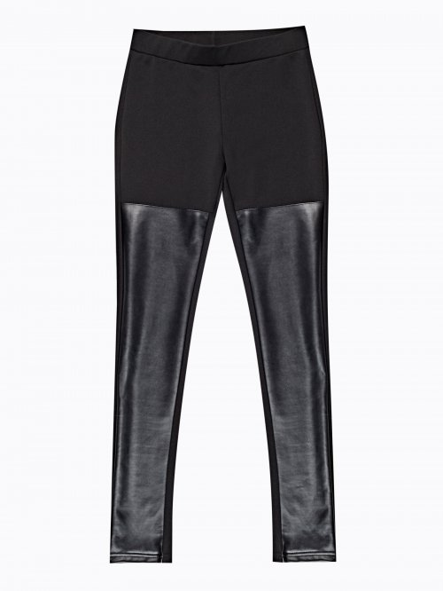 KNITTED SLIM TROUSERS WITH FAUX LEATHER PANELS