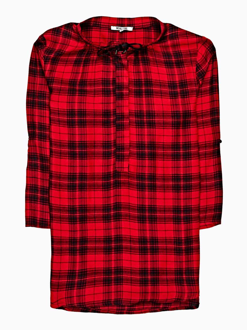 PLAID VISCOSE BLOUSE WITH FRONT LACING
