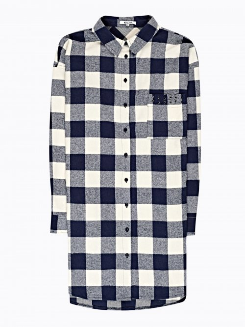 LONGLINE PLAID SHIRT WITH SIDE POCKETS