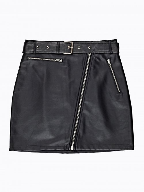 FAUX LEATHER MINI SKIRT WITH BELT & ZIPPER