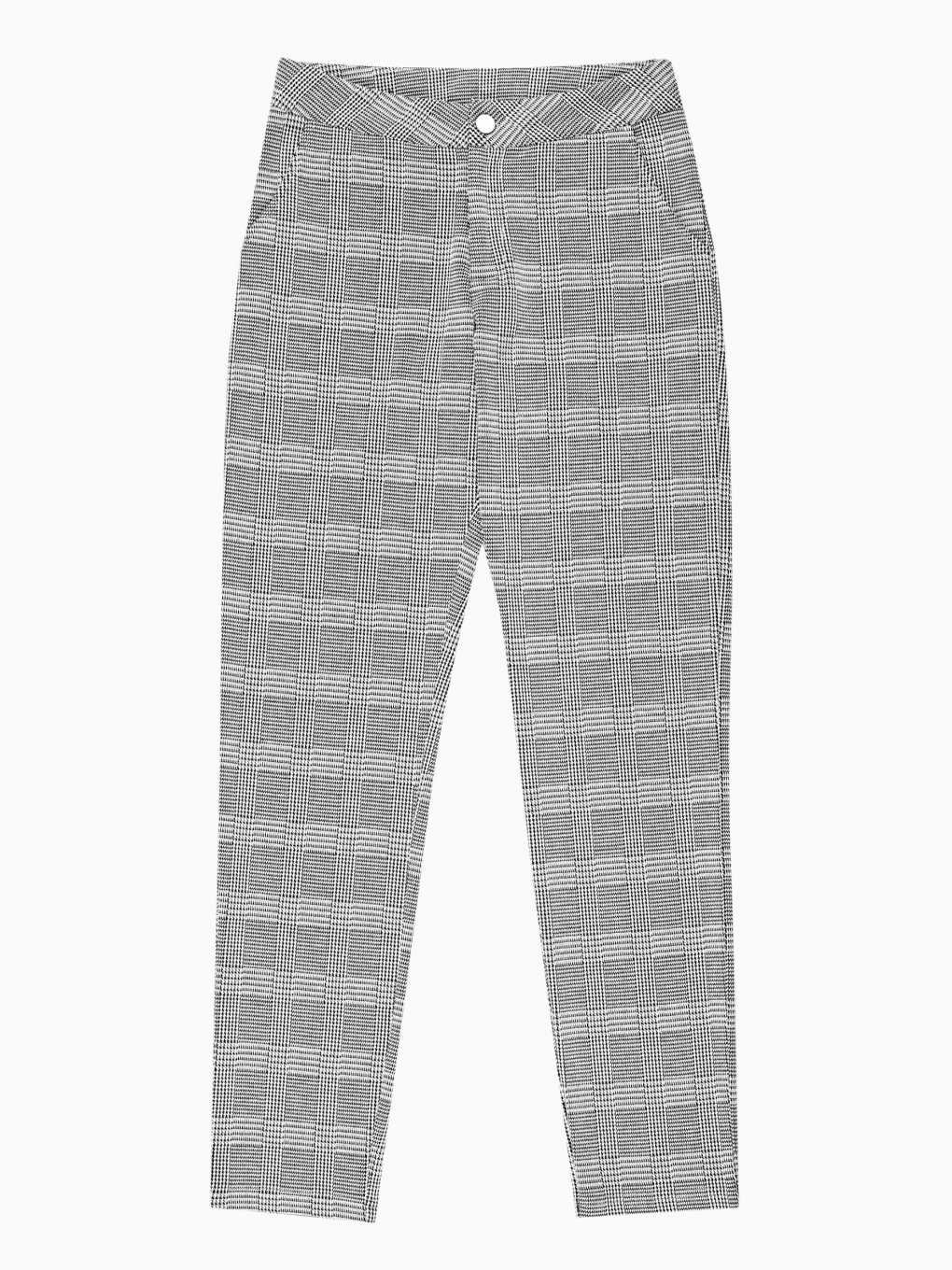STRAIGHT SLIM PLAID TROUSERS