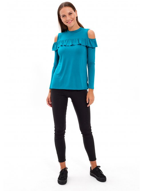 Cold-shoulder frill top