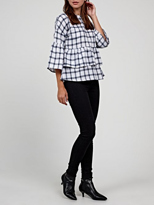 PLAID PEPLUM BLOUSE WITH RUFFLE SLEEVES