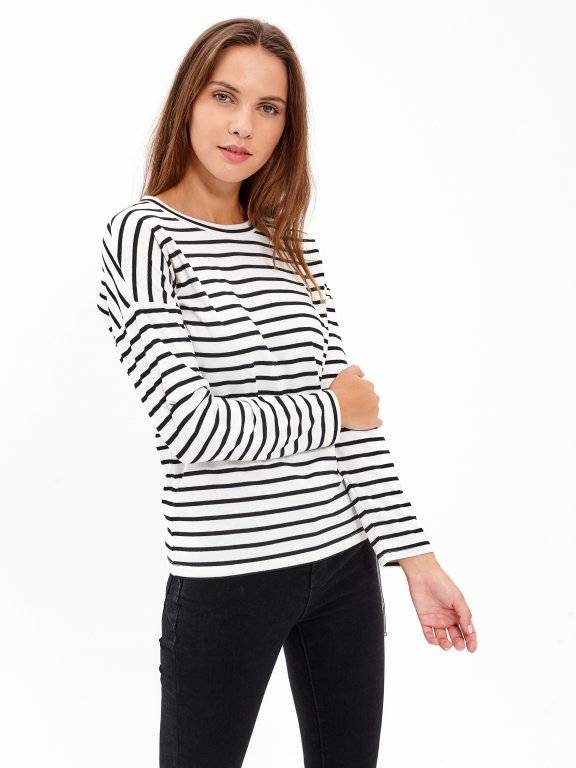 STRIPED JUMPER WITH SIDE LACING