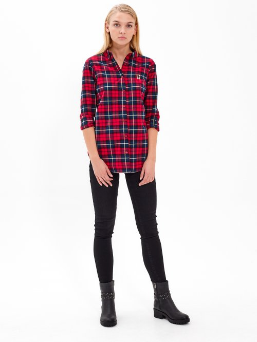 PLAID SHIRT WITH SMALL EMBROIDERY