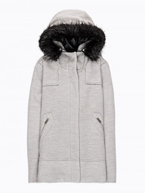 Hooded coat with removable fur