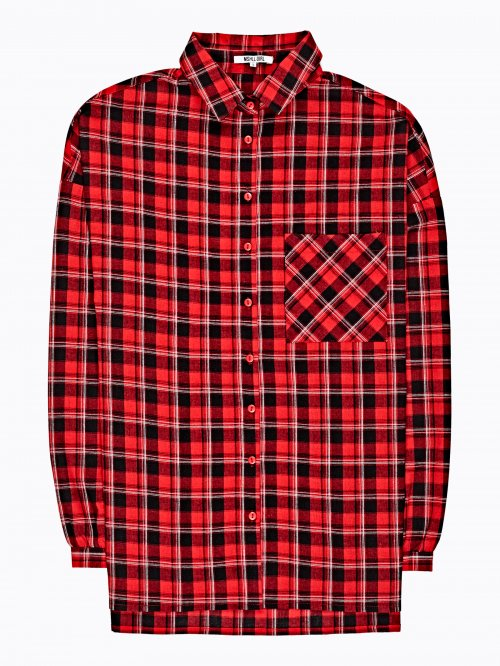 Oversized plaid shirt with chest pocket