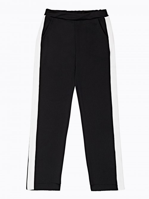 WIDE LEG TROUSERS WITH CONTRAST SIDE PANEL