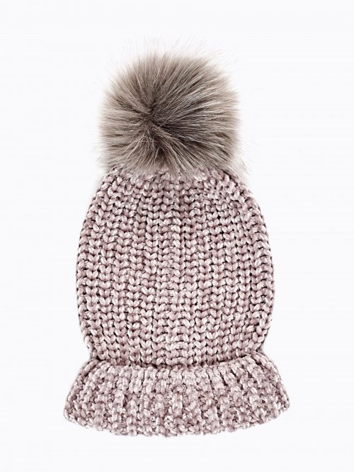 CHENILLE BEANIE WITH FAUX FUR POM