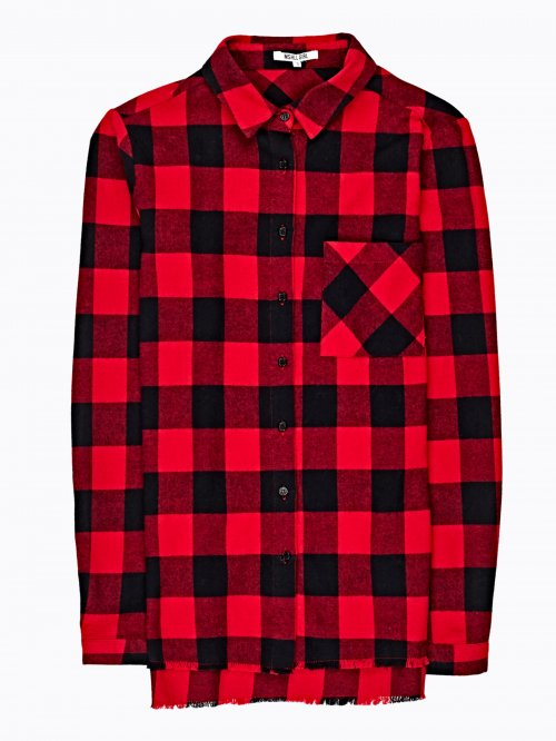 PLAID SHIRT WITH MESSAGE PRINT ON BACK