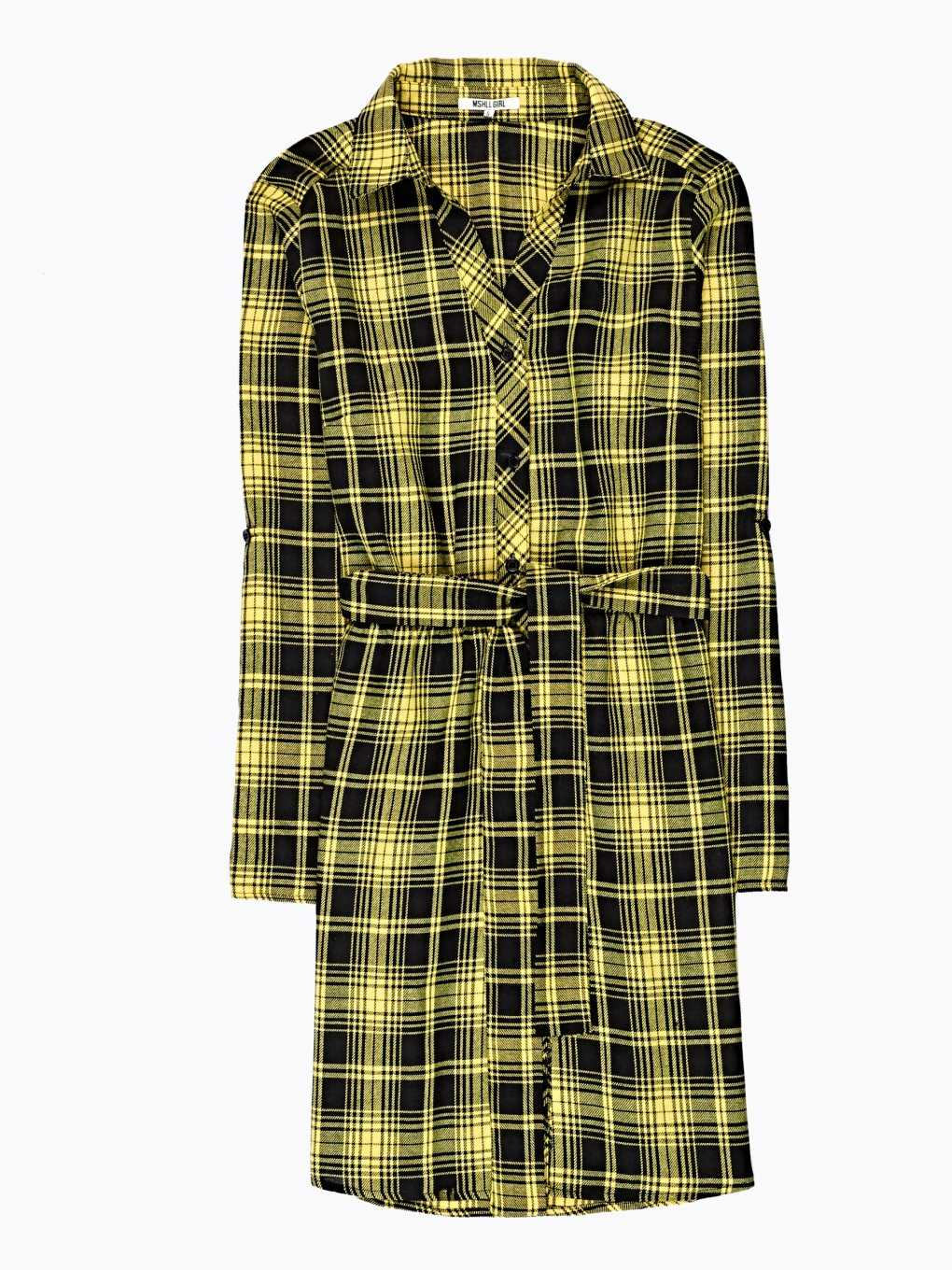 Plaid shirt dress with belt
