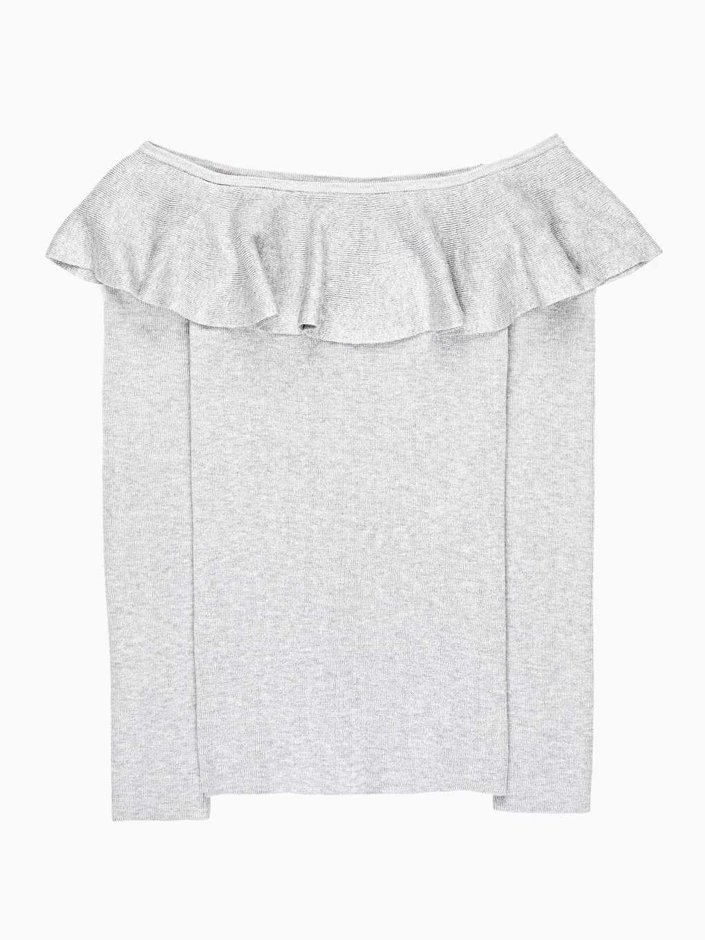 RIB-KNIT JUMPER WITH RUFFLE