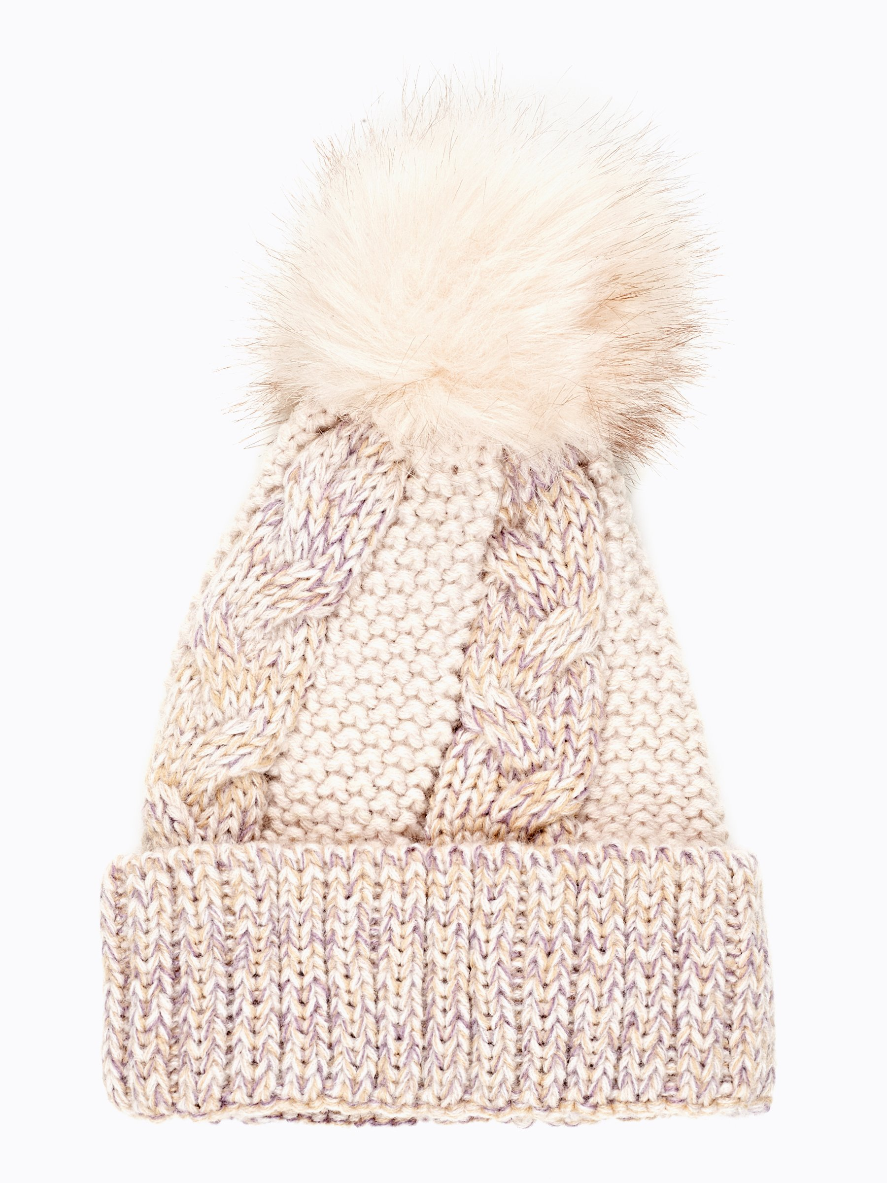 CABLE-KNIT BEANIE WITH FAUX FUR POM  f9682224cd5