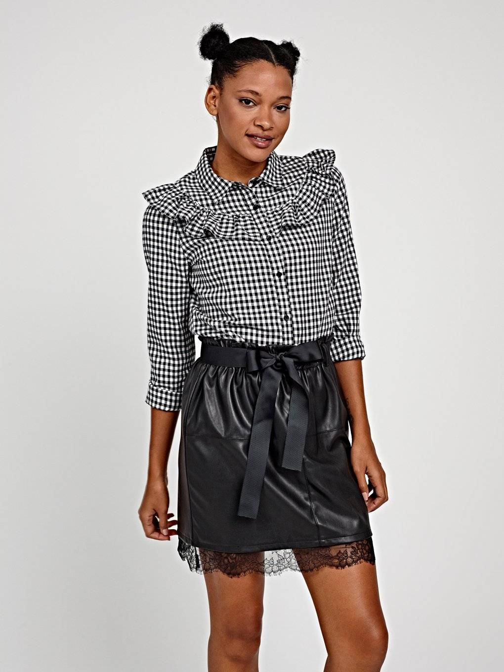 Gingham cotton shirt with ruffle