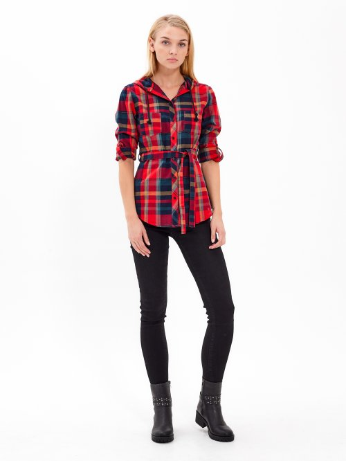 LONGLINE PLAID HOODED SHIRT WITH BELT