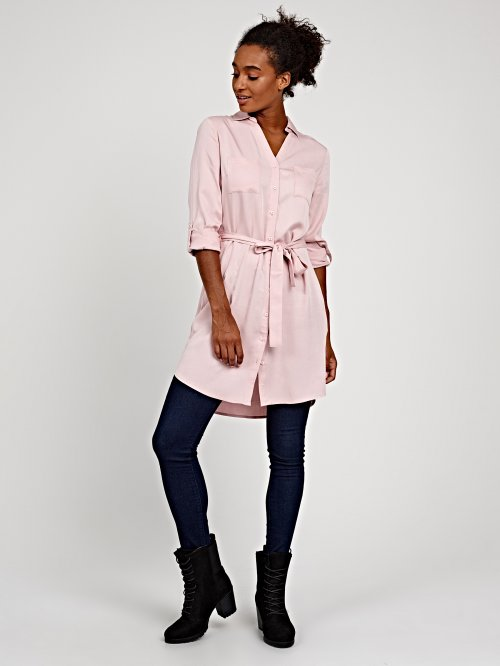 Shirt dress with side pockets