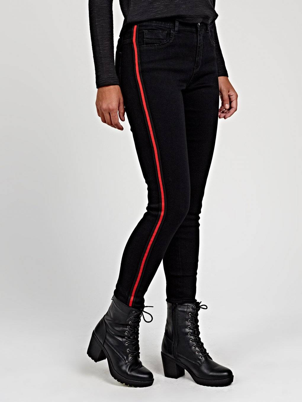Skinny jeans with contrast side tape