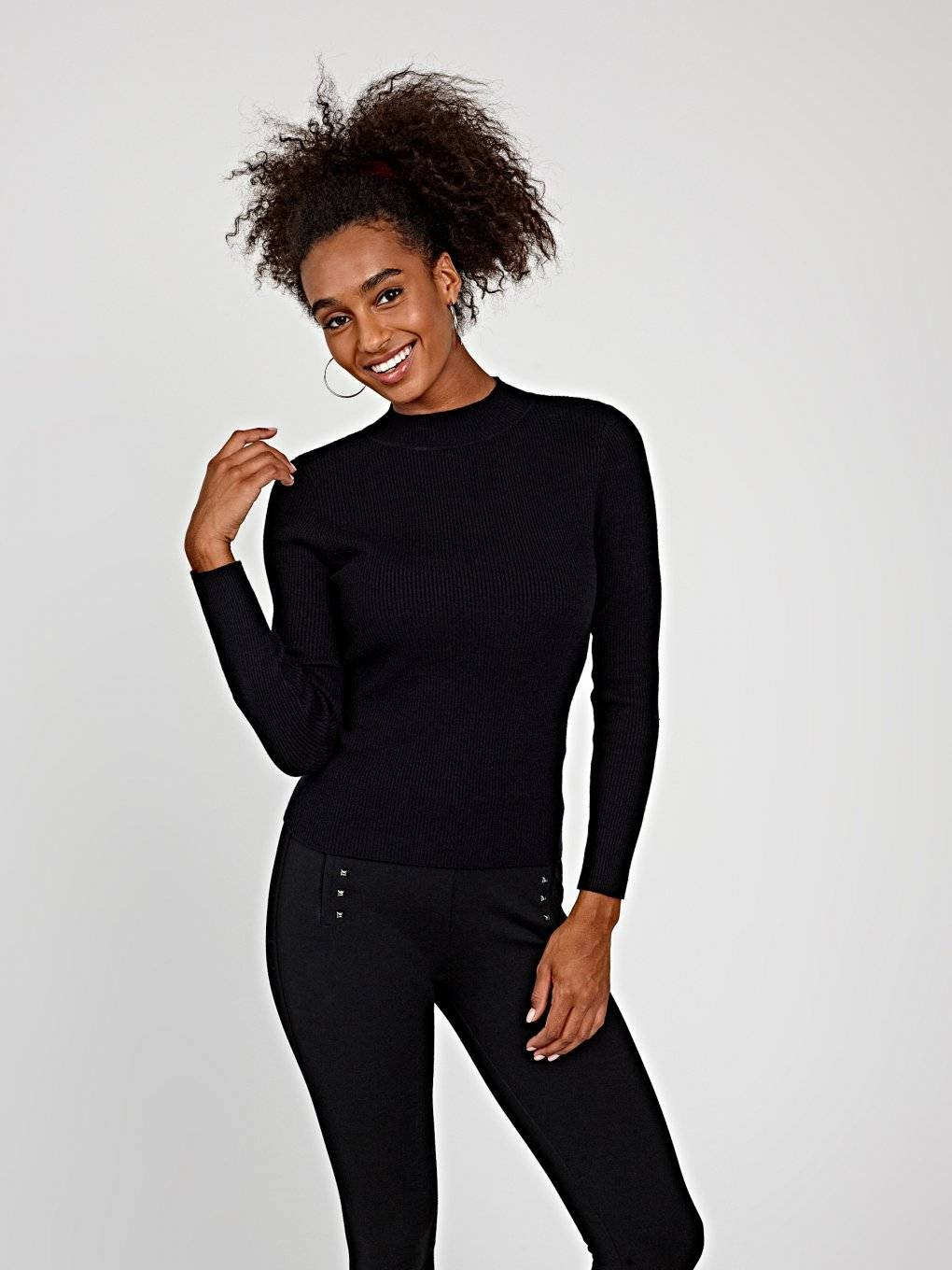 BASIC RIB-KNIT HIGH NECK JUMPER
